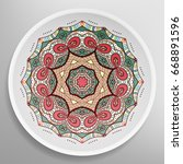 decorative plate with round... | Shutterstock .eps vector #668891596
