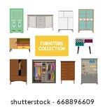 vector furniture set elements.  ...   Shutterstock .eps vector #668896609