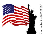 liberty statue with usa flag... | Shutterstock .eps vector #668902558