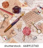 old paper texture with hand... | Shutterstock . vector #668913760