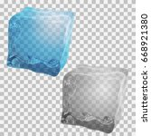 transparent ice cubes. vector... | Shutterstock .eps vector #668921380