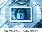 white tablet pc and access... | Shutterstock . vector #668923684