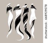 woman east type in veiled.... | Shutterstock .eps vector #668929078