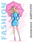fashion pretty woman with... | Shutterstock .eps vector #668931454