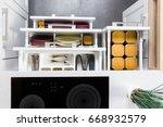 top view of organized kitchen...   Shutterstock . vector #668932579
