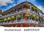 old new orleans building with... | Shutterstock . vector #668935429