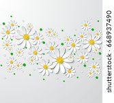 floral background with 3d... | Shutterstock .eps vector #668937490