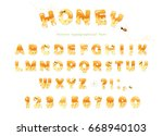 honey font design. glossy sweet ... | Shutterstock .eps vector #668940103