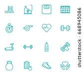 set of 16 bodybuilding outline... | Shutterstock .eps vector #668945086
