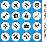 set of 16 editable mechanic... | Shutterstock .eps vector #668949388