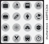 set of 16 editable knowledge... | Shutterstock .eps vector #668951266