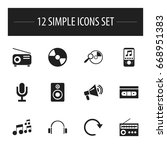 set of 12 editable sound icons. ...