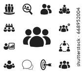 set of 12 editable cooperation... | Shutterstock .eps vector #668952004
