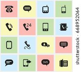 set of 16 editable phone icons. ... | Shutterstock .eps vector #668952064