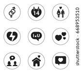 set of 9 editable heart icons.... | Shutterstock .eps vector #668953510