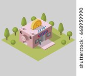 bank building pink pig and... | Shutterstock .eps vector #668959990