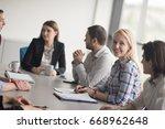 business team meeting in modern ...   Shutterstock . vector #668962648
