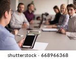 businessman using tablet... | Shutterstock . vector #668966368