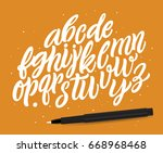 vector hand drawn alphabet on... | Shutterstock .eps vector #668968468