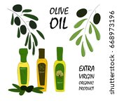 natural organic olive oil. hand ... | Shutterstock .eps vector #668973196