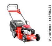 red lawn mower isolated on... | Shutterstock . vector #668986156
