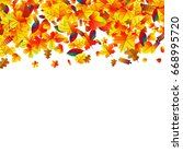 autumn leaves scattered...   Shutterstock . vector #668995720