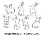 Stock vector draw vector illustration set character design of cute rabbit doodle style 668998693