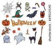 set of halloween icons.... | Shutterstock . vector #669014140