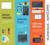 cartoon designer workplace... | Shutterstock .eps vector #669022990