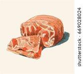 watercolor ham  hand drown ...   Shutterstock .eps vector #669028024