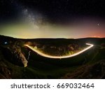 night sky with milky way and... | Shutterstock . vector #669032464