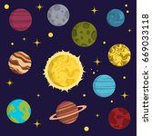 solar system space planets... | Shutterstock .eps vector #669033118