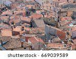 houses with tiled roof  top...   Shutterstock . vector #669039589