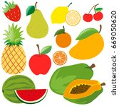 different kinds of organic... | Shutterstock .eps vector #669050620