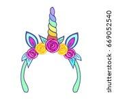 unicorn tiara with rainbow horn ... | Shutterstock .eps vector #669052540