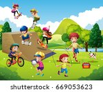 kids playing different sports... | Shutterstock .eps vector #669053623