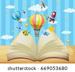 balloons and rockets flying out ... | Shutterstock .eps vector #669053680