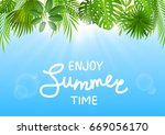 summer background with tropical ... | Shutterstock .eps vector #669056170