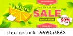 summer sale banner with orange... | Shutterstock .eps vector #669056863