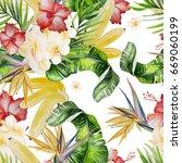 beautiful watercolor seamless... | Shutterstock . vector #669060199