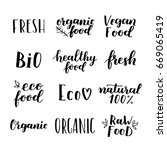 labels with vegetarian and raw... | Shutterstock . vector #669065419