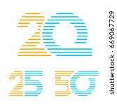20 25 50 anniversary line... | Shutterstock .eps vector #669067729