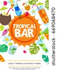 beach bar vector menu or flyer... | Shutterstock .eps vector #669068470