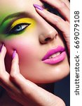 girl with a bright make up. a... | Shutterstock . vector #669079108