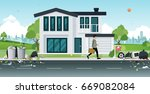 old dirty house and rubbish in... | Shutterstock .eps vector #669082084