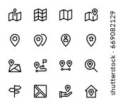 maps and location icon set | Shutterstock .eps vector #669082129