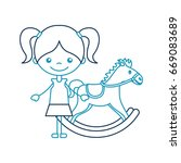 cute girl with horse wooden... | Shutterstock .eps vector #669083689