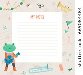 template for notes with a nice... | Shutterstock .eps vector #669084484