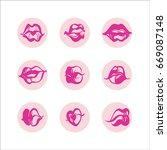 lips set. hand drawn vector... | Shutterstock .eps vector #669087148