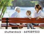 senior woman  her adult... | Shutterstock . vector #669089503